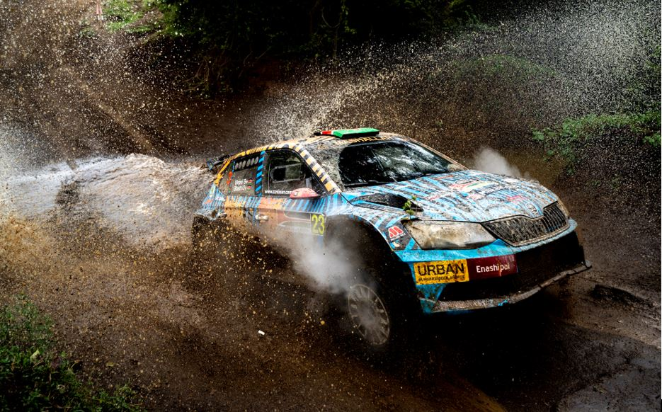 Aakif Virani and navigator Azhar Bhati power their Skoda Fabia through a section on the second day of the African Rally Championship Equator Rally on April 24, 2021. PHOTO/ MWANGI KIRUBI