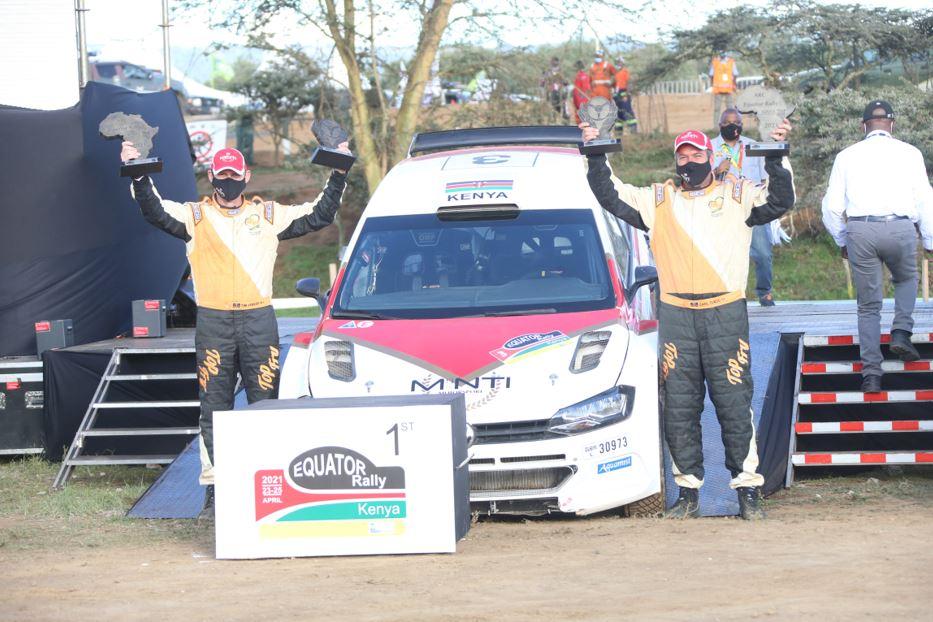 Carl Tundo and navigator Tim Jessop celebrate after winning the Africa Rally Championship Equator Rally
