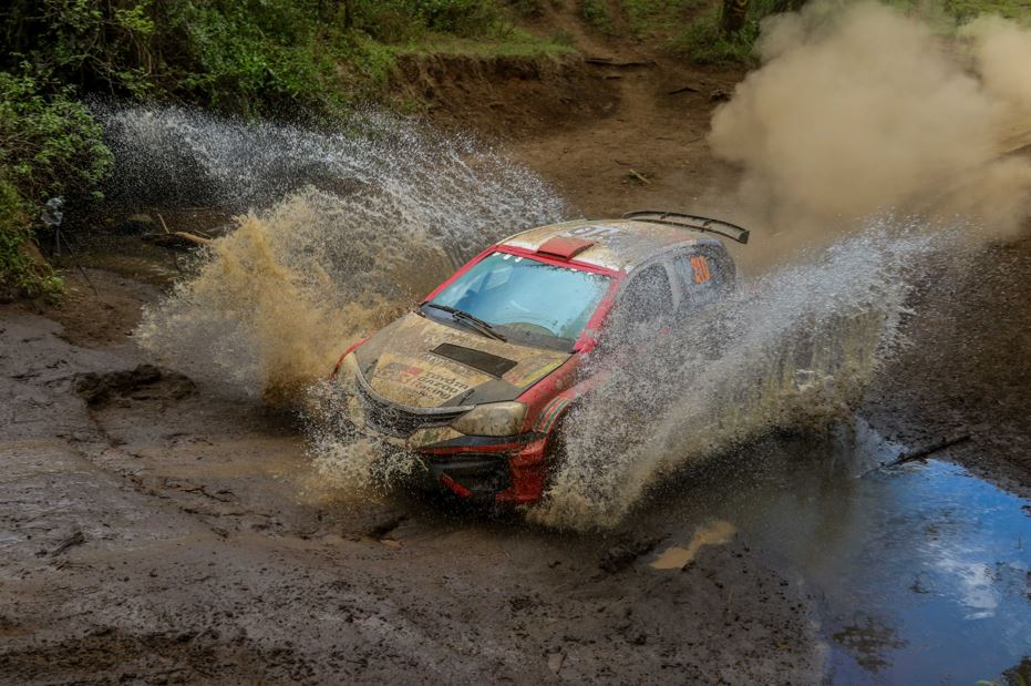 Guy Botterill Simon Vacy-Lyle on their way to the finish in their Toyota Etios in the African Rally Championship Equator Rally on April 24, 2021. PHOTO/ MWANGI KIRUBI