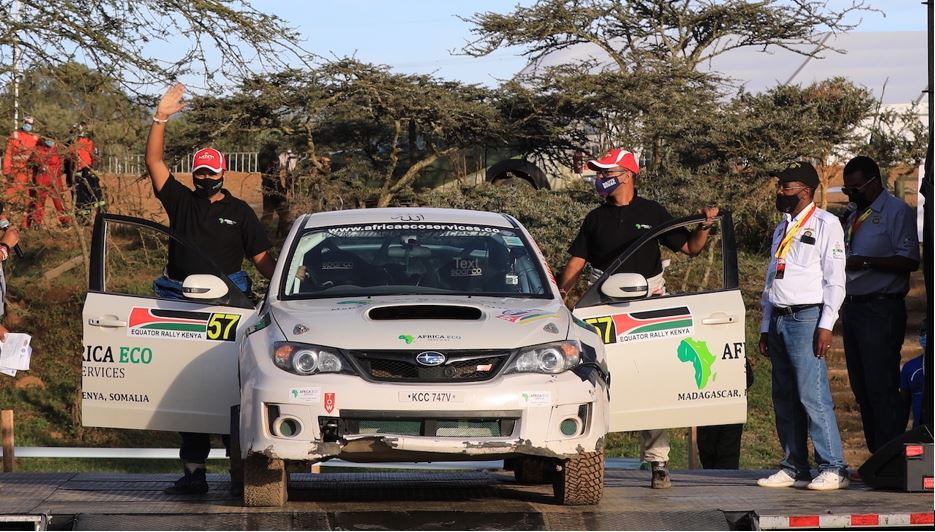 Hamza Anwar (left) with his navigator Riaz Ismail at the finish ramp of the Equator Rally in Naivasha on Sunday (April 25). Anwar, 22, was the youngest driver in the rally and finished fifth overall. PHOTO/ANWAR SIDI/ NATION