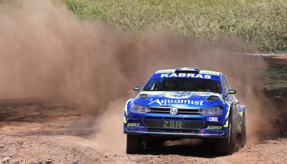 Onkar Rai navigated by Drew Sturrock in their VW Polo tackle the Malewa stage of the African Rally Championship Equator Rally on Sunday (April 25, 2021) at the Kenya Wildlife Service Training Institute. ANWAR SIDI/ NATION