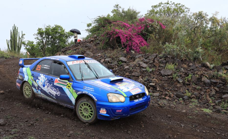 Steve Mwangi navigated by Dennis Mwenda tackle the Malewa stage of the African Rally Championship Equator Rally on Sunday (April 25, 2021) at the Kenya Wildlife Service Training Institute. ANWAR SIDI/ NATION
