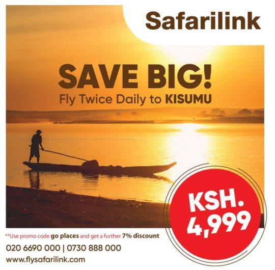 Fly Twice Daily to Kisumu with Safarilink