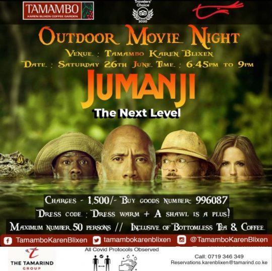Outdoor Movie Night at Tamambo this Saturday - Jumanji The Next Level
