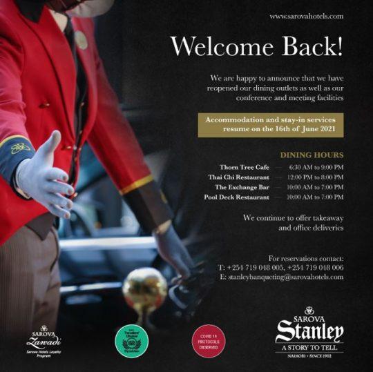 Welcome Back to The Sarova Stanley Hotel Nairobi