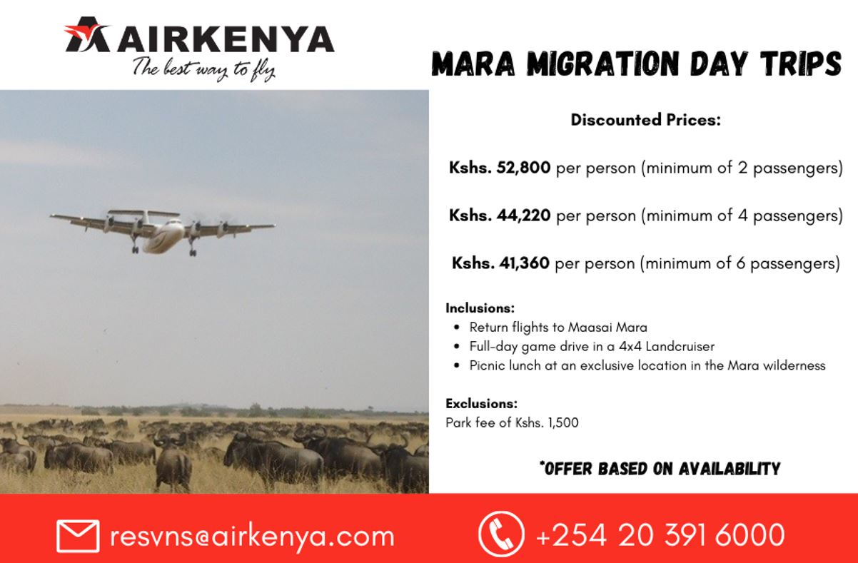 Mara Migration Day Trips By AirKenya