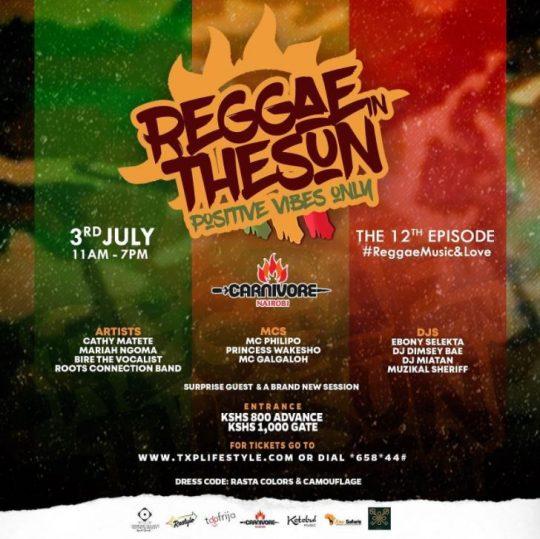 Carnivore Nairobi Brings You - Reggae in the Sun this Saturday