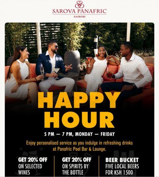 Enjoy Happy Hour on Weekdays at The Sarova Panafric