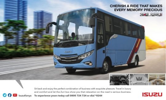 CHERISH A RIDE THAT MAKES EVERY MEMORY PRECIOUS - ZURI LUXURY BUS BY ISUZU Sit Back and enjoy a combination of business with exquisite pleasure. Travel in Luxury and comfort and let the Zuri Bus show you that relaxation on the road is serious business