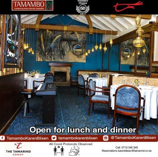 Tamambo Open for Lunch & Dinner