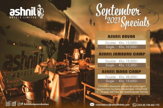 Create Memories With Our September Safari Offers at Ashnil Hotels