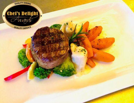 Chefs Delight Surf & Tuff (Beef Tenderloin & Calamari) With Premium Mixed Vegetables Panache & Butternut Squash Recipe By Chef Bernard Mayoli