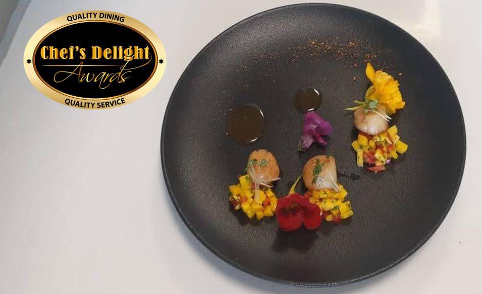 Chefs Delight Scallops Mango Salsa Salad Recipe By Chef Gravan Feller