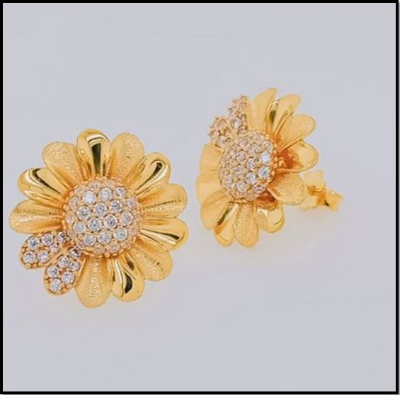 Elegant Gold Earrings & Braclet Collection By Gemessence