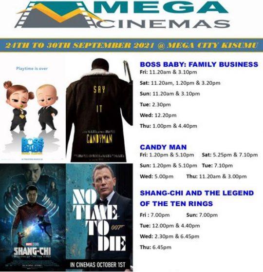 Mega Cinema Kisumu Week 38 Lineup – 24th to 30th Sept 2021