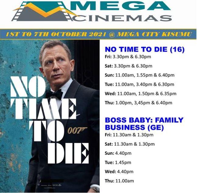 Mega Cinema Kisumu Week 39 Lineup – 1st to 7th Oct 2021