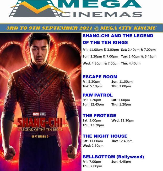 Mega Cinema Kisumu Week 35 Lineup - 3rd to 9th sept 2021