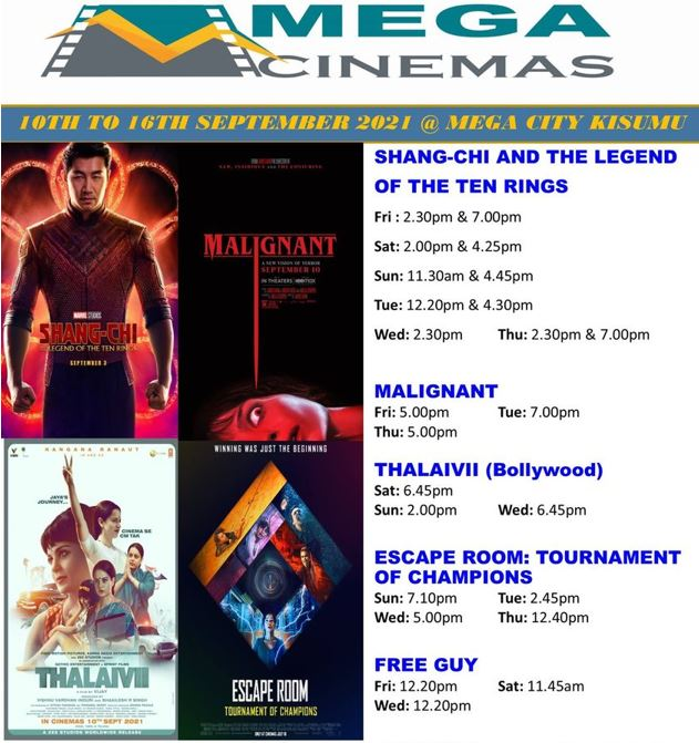 Mega Cinema Kisumu Week 36 Lineup - 10th to 16th Sep 2021