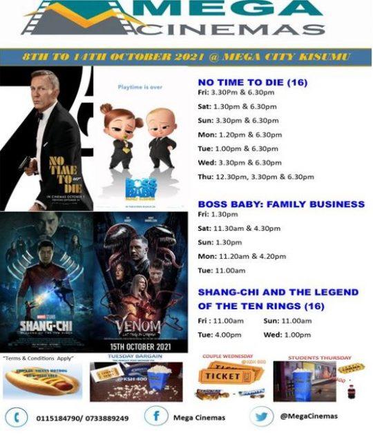 Mega Cinema Kisumu Week 40 Lineup – 8th to 14th Oct 2021