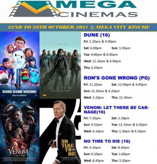 Mega Cinema Kisumu Week 42 Lineup – 22nd to 28th Oct 2021